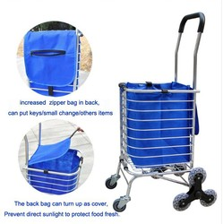 Aluminum material portable folding shopping cart trolley, daily shopping cart