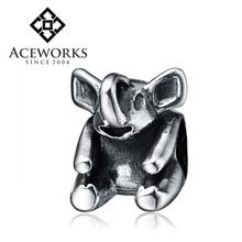 Wholesale 925 Silver Animal Beads Long Nose Elephant