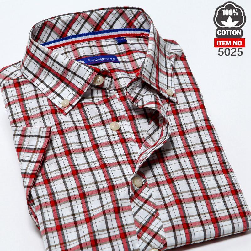 2014 man Короткий Рукав Модный causal shirt summer  turn-down Воротник plaid 100% Хлопок рубашка 45 Цвет