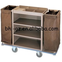 Guangzhou hotel cleaning supplies wholesale steel board house cleaning carts house cleaning services linen cleaning trolley F18