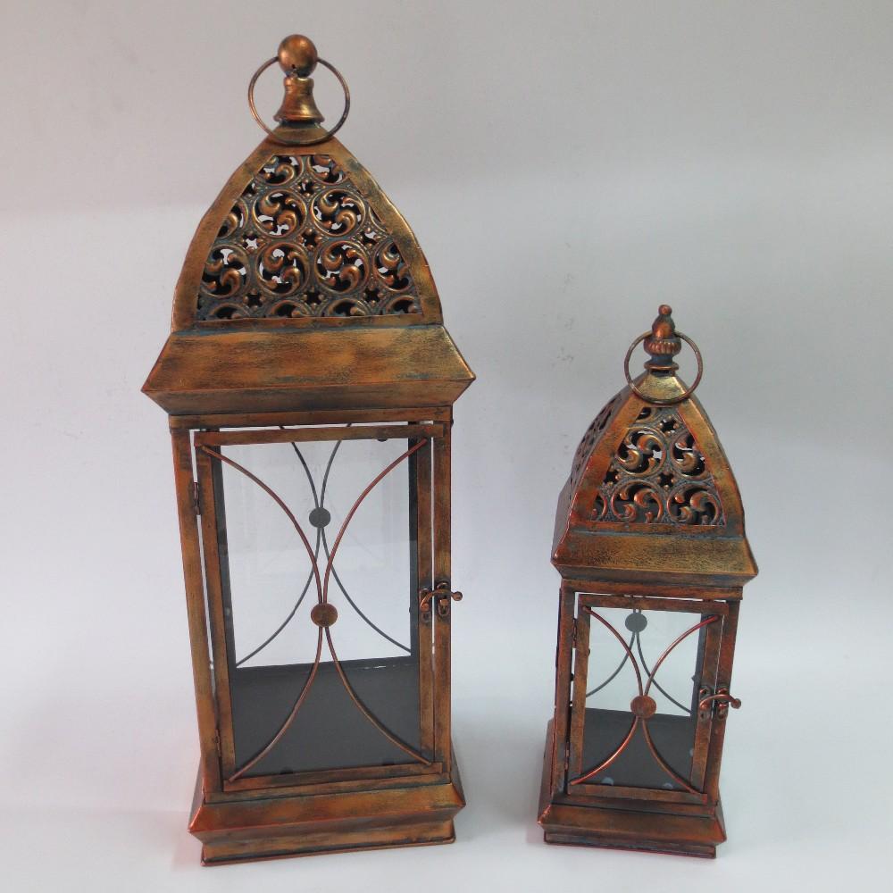 Morrocan rustic design metal garden candle lantern buy for Wooden garden lanterns