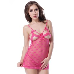 Pink see through beautiful women nude babydoll sexy dress