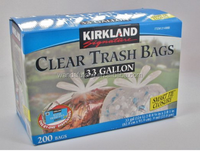 Kirkland Signature 33 Gallon Clear Trash Bags - 200 Bags with Smart Ties