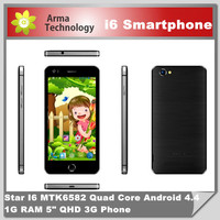 5 inch android phone i6 960*640px MTK6582 Quad core Android 4.3 OS 1GB RAM WIFI GPS WCDMA 3G