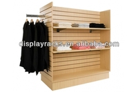 commercial garment display rack/MDF four-sided retail clothes display stand with hangers