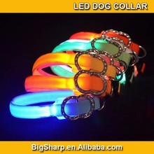 1.5mm wide Yellow LED Nylon Collar Pet Dog Safety Light-up Flashing collar Glow 18-28cm Size drop & free shipping DC-1509C