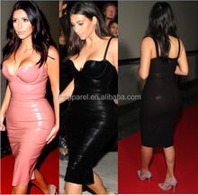 2015 Latest design sexy leather bodycon dress knee length