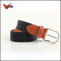 Hot sale dark navy blue canvas webbing belt with PU trim for casual dressing