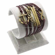 Infinity Leather Bracelet Antique Cross Anchor Love Peach Heart Owl Bird Believe Pearl Knitting Bronze Charm Bracelets Promotion
