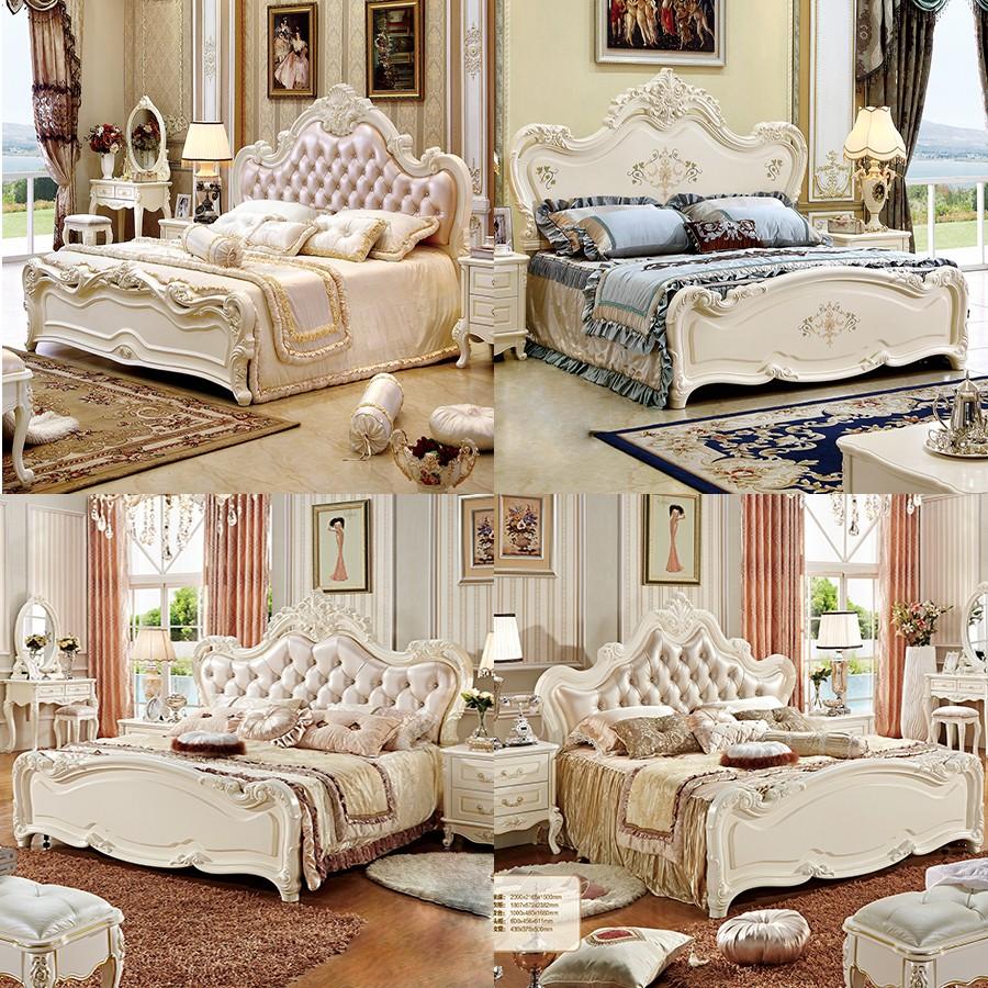 Antieke rococo slaapkamer meubelen koning frans hout bed set ...