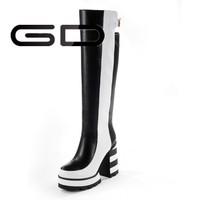GD Zebra printing genuine leather over heel boot!name brand hot sale metal heel long boot