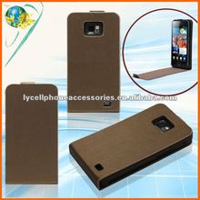 Brown Color Smooth PU Phone Case For Samsung Galaxy II i9100 Good Quality Hard Leather Case