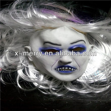 X- merry caliente de halloween zombie toothy fantasma máscaras de emulsión de miedo con la piel de pelo
