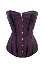 2015 Hot selling plus size lingerie Women's purple Satin Steel Boning Overbust Corset cheap price