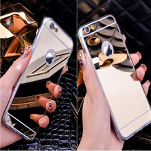 new tpu phone case with electroplate mirror case for iphone 6 plus 5.5inch