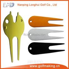 Metal golf pitchfork repair divot tool