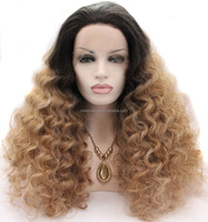 Wholesale price natural black to blonde two ombre color kinky curly wig synthetic lace front wigs for women heat resistanr fiber