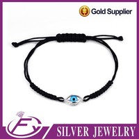 Alibaba wholesale fancy design 925 sterling silver bulk leather bracelet