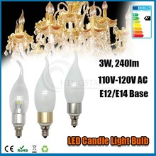 Replacement e12 candle light 3w,4w,5w 360 degree torpedo and sharp silver and golden 120v c37 ce rohs ,candle light e12 bulb
