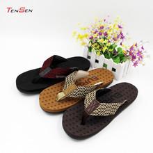newest unique own design textile flip flops high elastic insole eva slipper for men