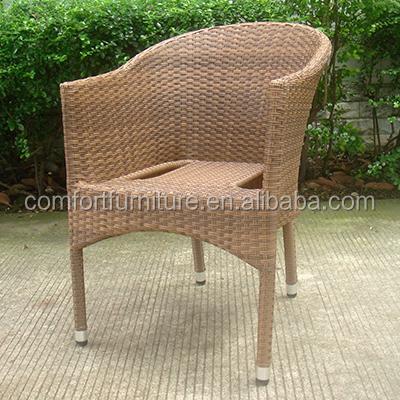 Plein air empilement chaise en rotin avec cadre en aluminium