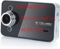 "factory outlet 8.7usd/pcs New 2.7"" Screen HD1080p 30fps Car Dashboard Camera Cam Video Register K6000 DVR"