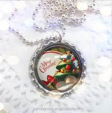 Bottle cap!!children charming design alloy&glass christmas snowman/Santa Claus cartoon pendants wholedale for Festival gifts!!