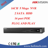 Hikvision 5MP 16ch nvr with 16 port poe 2sata hdd plug and play DS-7616NI-E2/16P