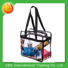 transparent waterproof tote shopping bag with zipper