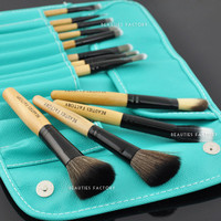 Beauties Factory 12pcs Summer Turquoise Makeup Brushes Set