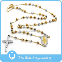 TKB-N314 Religionary Rosary Bead Jewelry Stainless Steel IP Rose Gold Tri-color Two Tone Rosary Necklace with Jesus Cross