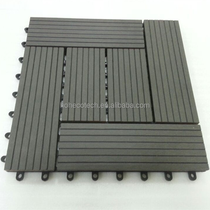 Non slip wood composite interlocking outdoor deck tiles for Plastic composite decking