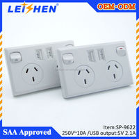 Double 240v powerpoint GPO switch socket USB charger apple white/silver