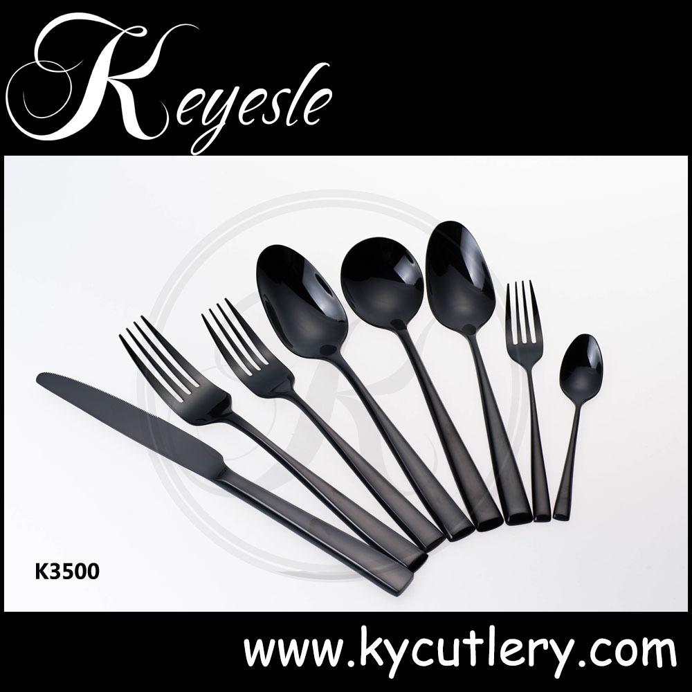 black gold cutlery cutlery black stainless black metal. Black Bedroom Furniture Sets. Home Design Ideas