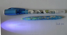 Fancy unique Magic 3-in-1 one head invisible ink uv led pen & one head normal ball pen with uv light on top as toy CH-0826