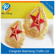 wholesales fashion colorful starfish metal badge / red star gold look metal emblem with different sizes and logos
