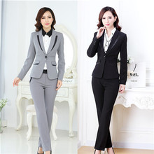 2015 formal ladies balck business suits blazer and pants suits S106