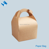 Cake Cookies Brown Kraft Paper Bag For Fast Food