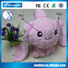 Recording voice and colorful light long ears rabbit stuffed plush toy