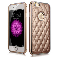 XOOMZ Aluminium Bumper Case For iPhone 6 With Leather Back Plate