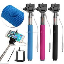 Wired Selfie Stick Handheld Monopod Built-in Shutter Extendable + Mount Holder For iPhone for Samsung for Smartphones