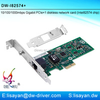 10/100/1000mbps Intel 82574/9301CT RJ45 port pci-e express network card with PXE