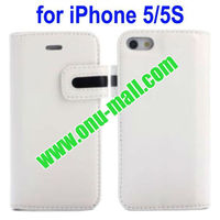 Stylish Magnetic Clip Genuine Leather Case for iPhone 5S/5 with Stand and Card Slot(White)