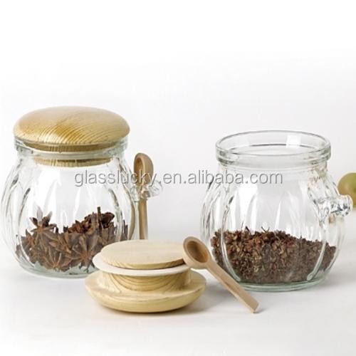 gros bocal en verre avec couvercle en bois et cuill re bouteilles bocaux de stockage id de. Black Bedroom Furniture Sets. Home Design Ideas