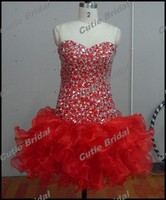 Spring Fashion Red Short Mini Prom Dresses Gowns For Mature Women With Crystal Ball Gown