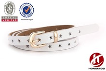 Women's zinc alloy pin buckle star genuine leather belt