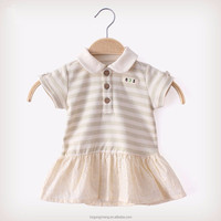 Organic cotton short sleeves stripe baby dress designs,girl dress,baby dress
