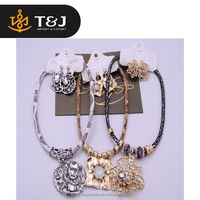 High Quality Women European Fashion Jewelry Set Fake Snakeskin Chain Hollow Big Crystal Pendant Necklace & Charm Earrings