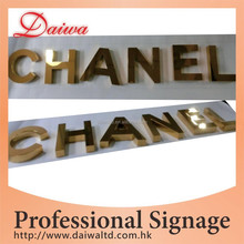 Ti-gold Stainless Steel mirror Words signage