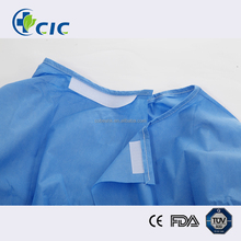 Medical blue disposable reinforced surgical gown for hospital use